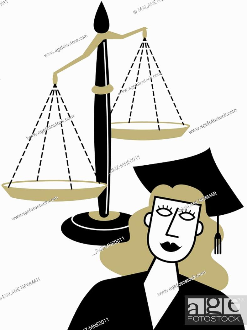 Stock Photo: A woman in a graduation cap and gown in front of the Scales of Justice.