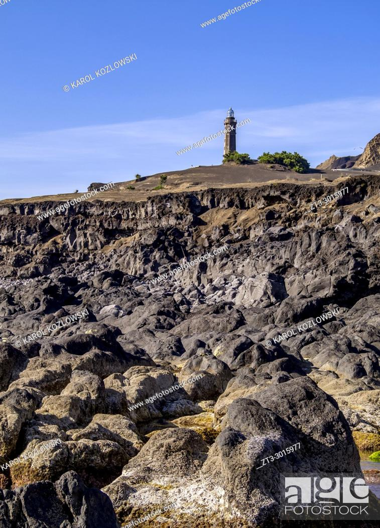 Stock Photo: Capelinhos Lighthouse, Faial Island, Azores, Portugal.