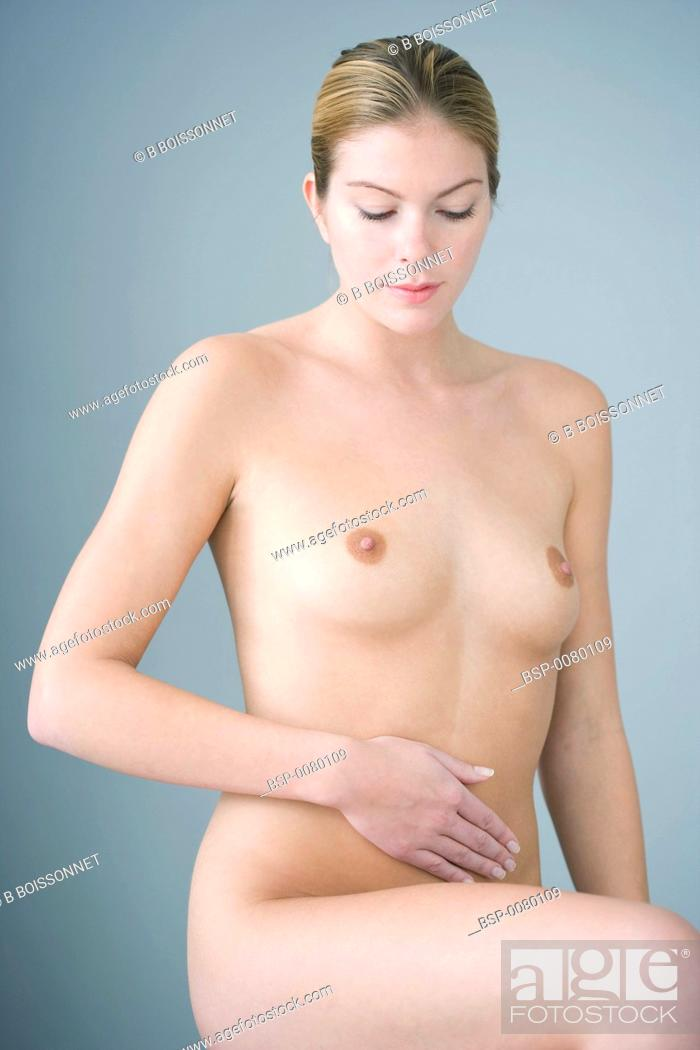 Stock Photo: ABDOMINAL PAIN IN A WOMAN.