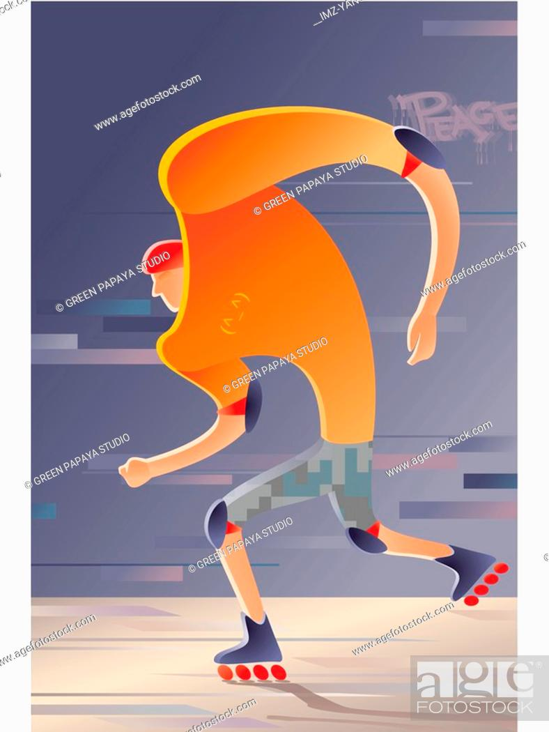 Stock Photo: A young man rollerblading.