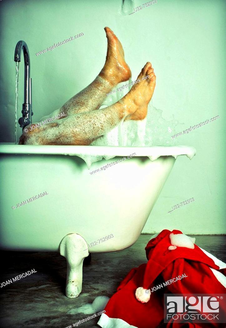Stock Photo: Santa Claus having a bath.