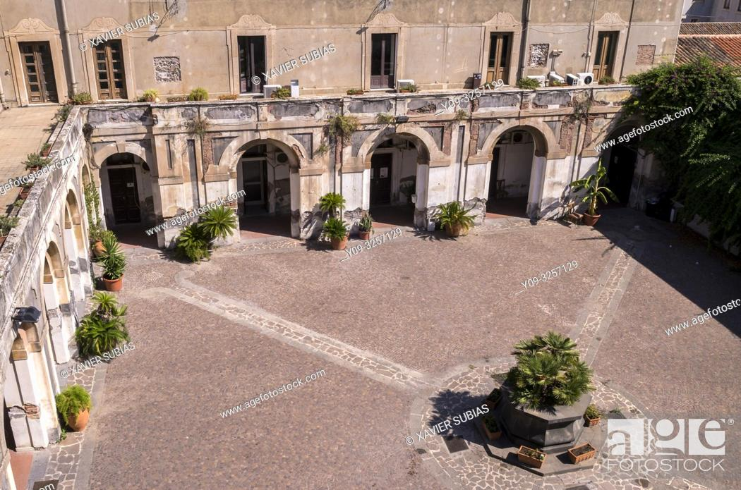 Stock Photo: Cloister, Monastero di San Giuliano, Catania, Sicily, Italy.