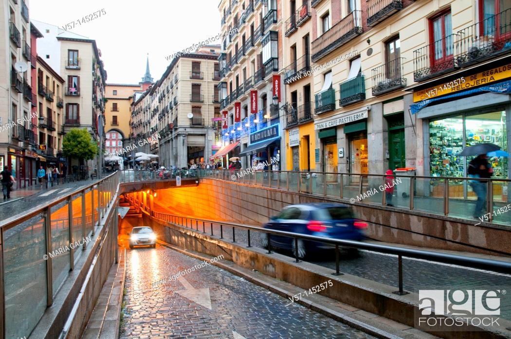 Stock Photo: Underground car park, Toledo street. Madrid, Spain.
