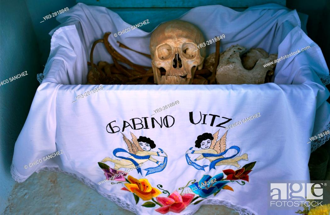 Stock Photo: Bones are displayed in the Mayan village of Pomuch, Hecelchakan, Campeche, Yucatán península, October 30, 2016, as part of Day of the Dead celebrations in.