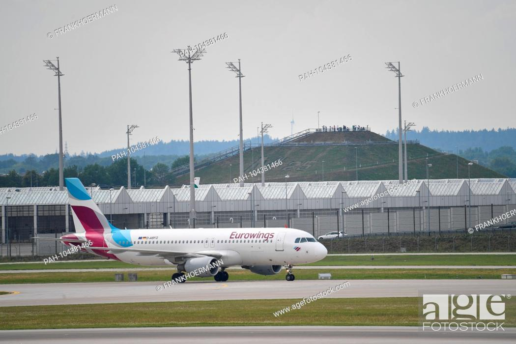 Stock Photo: D-ABFO - Airbus A320-214 - Eurowings on the runway. Airline, airline, flyer, air traffic, fly.Aviation. Franz Josef Strauss Airport in Munich.Munich.