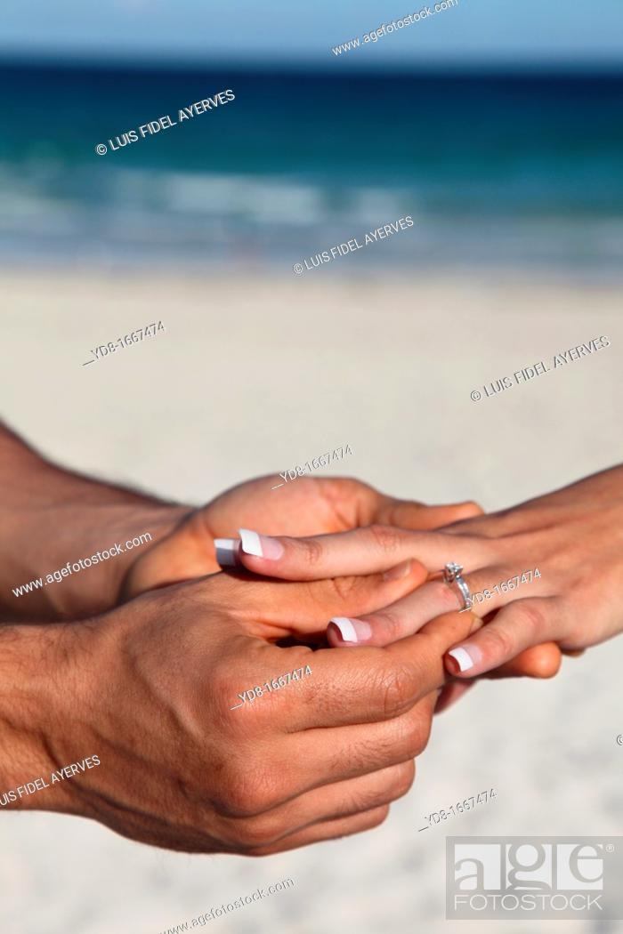 Stock Photo: Proposal on the beach.
