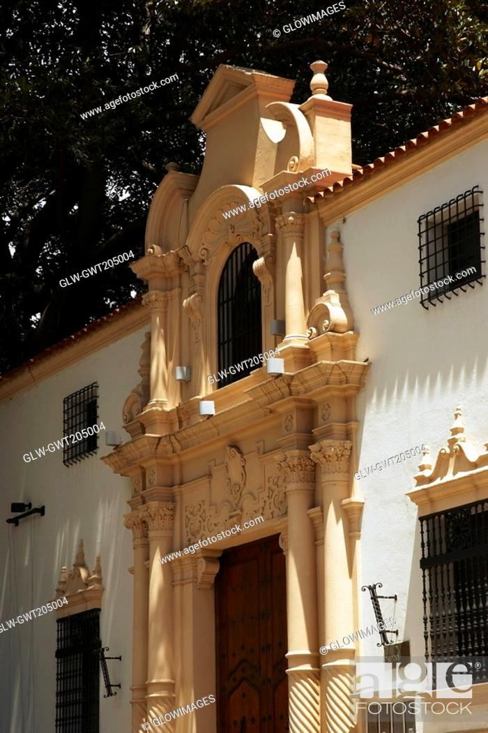 Stock Photo: Low angle view of a museum, Isaac Fernandez Blanco Museum, Suipacha Partido, Recoleta, Buenos Aires, Argentina.