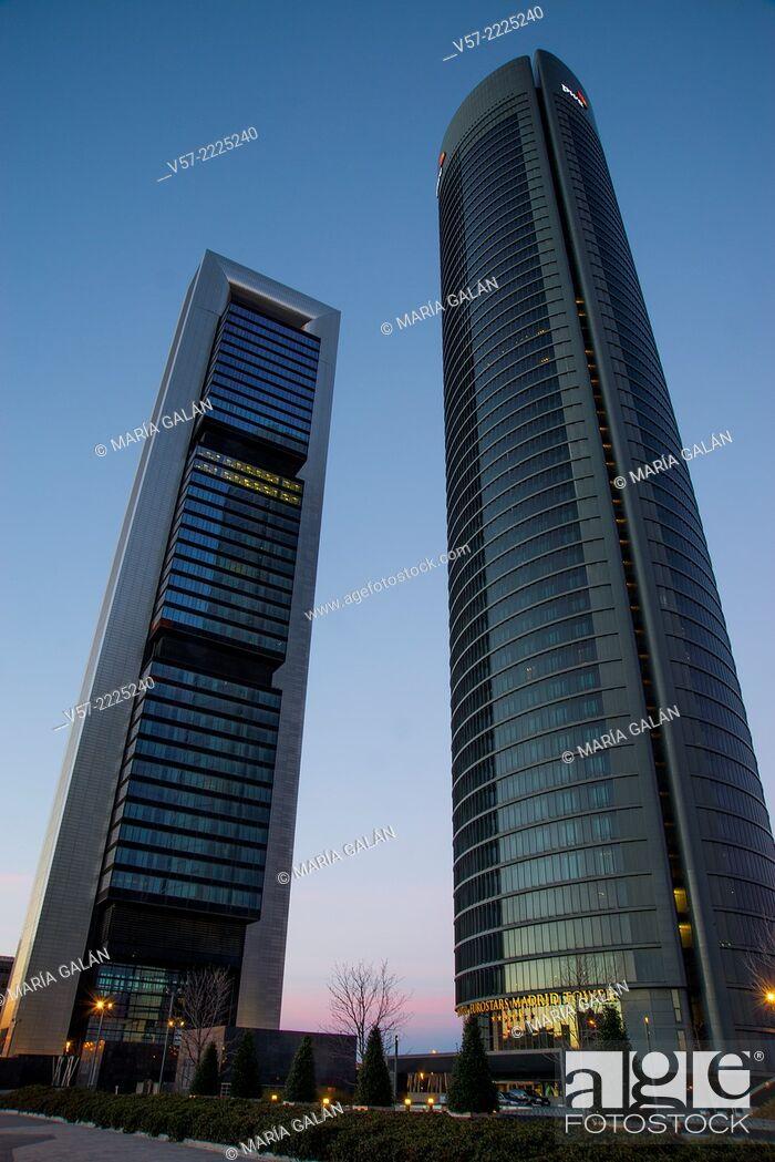 Stock Photo: Sacyr Tower and Bankia Tower, night view. CTBA, Madrid, Spain.