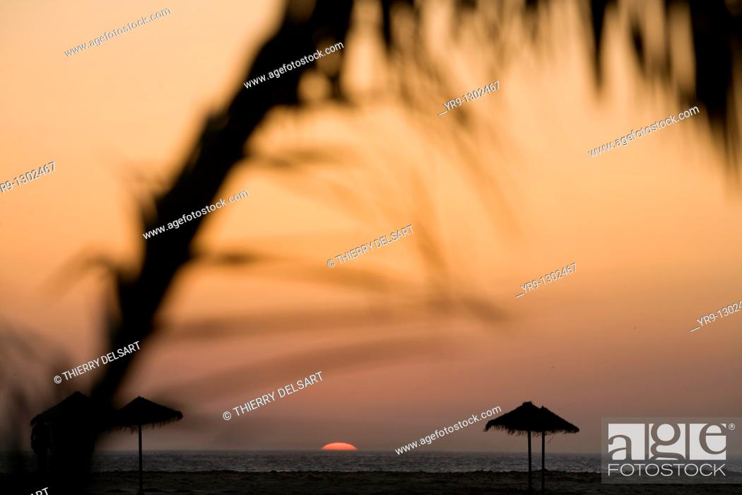 Stock Photo: Summer sunset at Tarifa Beach, Spain.