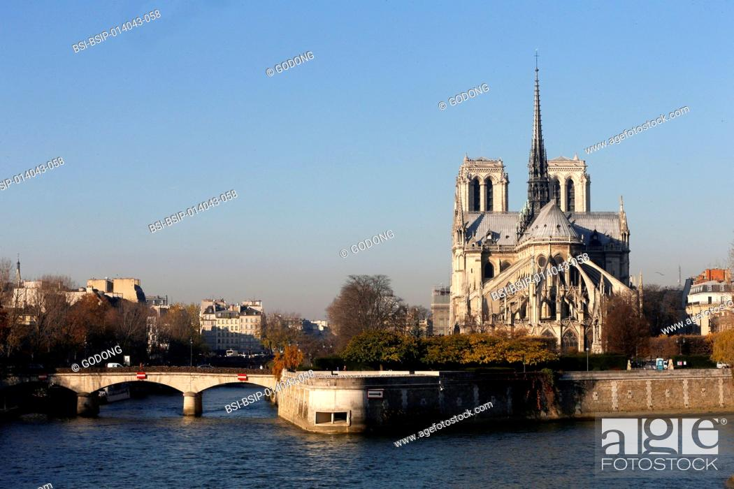 Stock Photo: Paris. The seine river. Notre Dame Cathedral.
