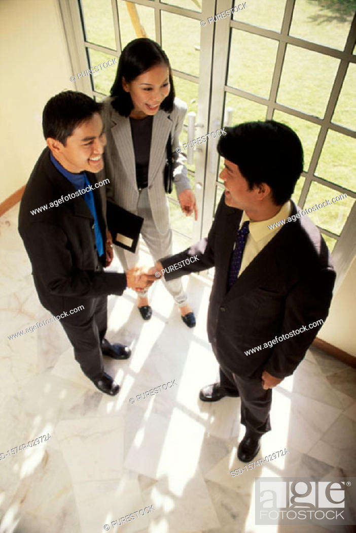 Stock Photo: High angle view of two businessmen shaking hands with a businesswoman standing beside them.