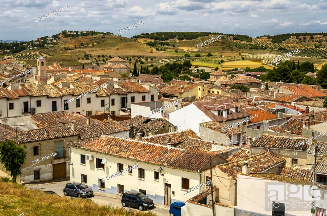 Stock Photo: Aereal view of Chinchon village, Madrid province, Spain.