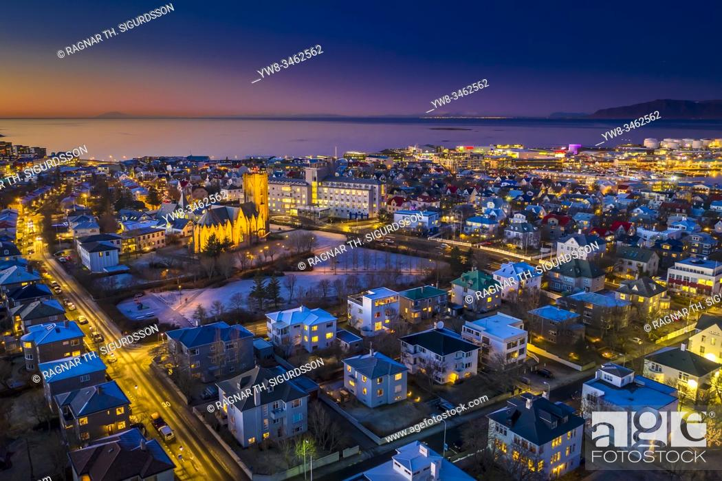 Stock Photo: Twilight, Reykjavik, Iceland. This image is shot using a drone.
