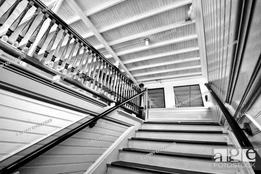 Stock Photo: Interior Stairwell of the Steam Ferry Berkeley at the San Diego Maritime Museum.