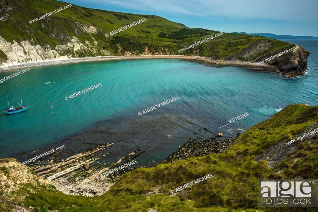 Stock Photo: Lulworth Cove, Lulworth, Jurassic Coast, Dorset, England, UK.