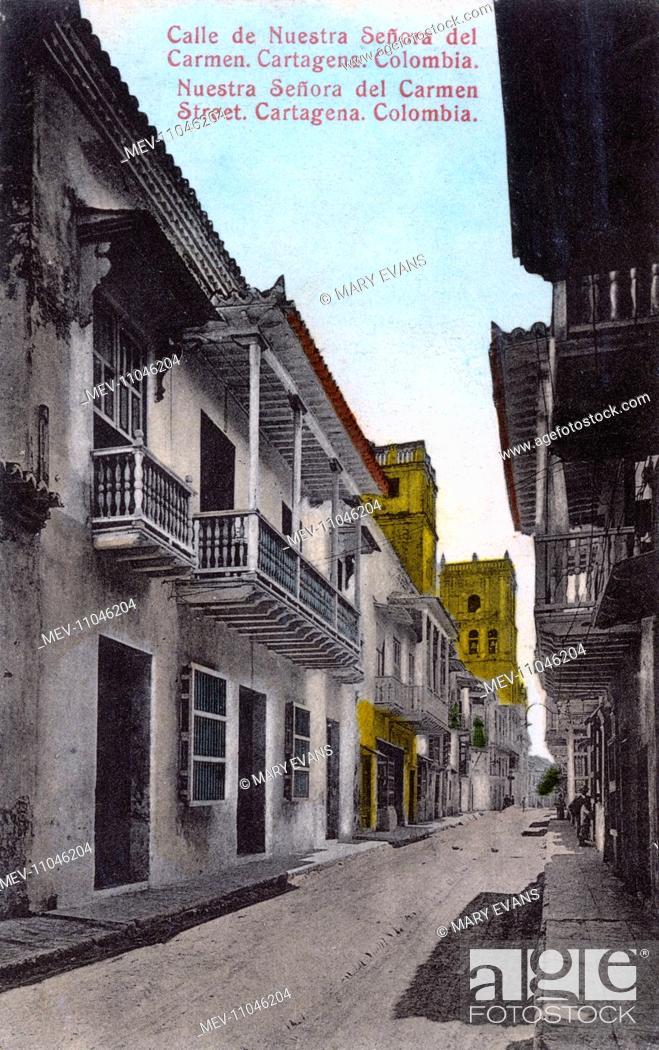 Stock Photo: Nuestra Senora del Carmen Street in Cartagena, Colombia, Central America.