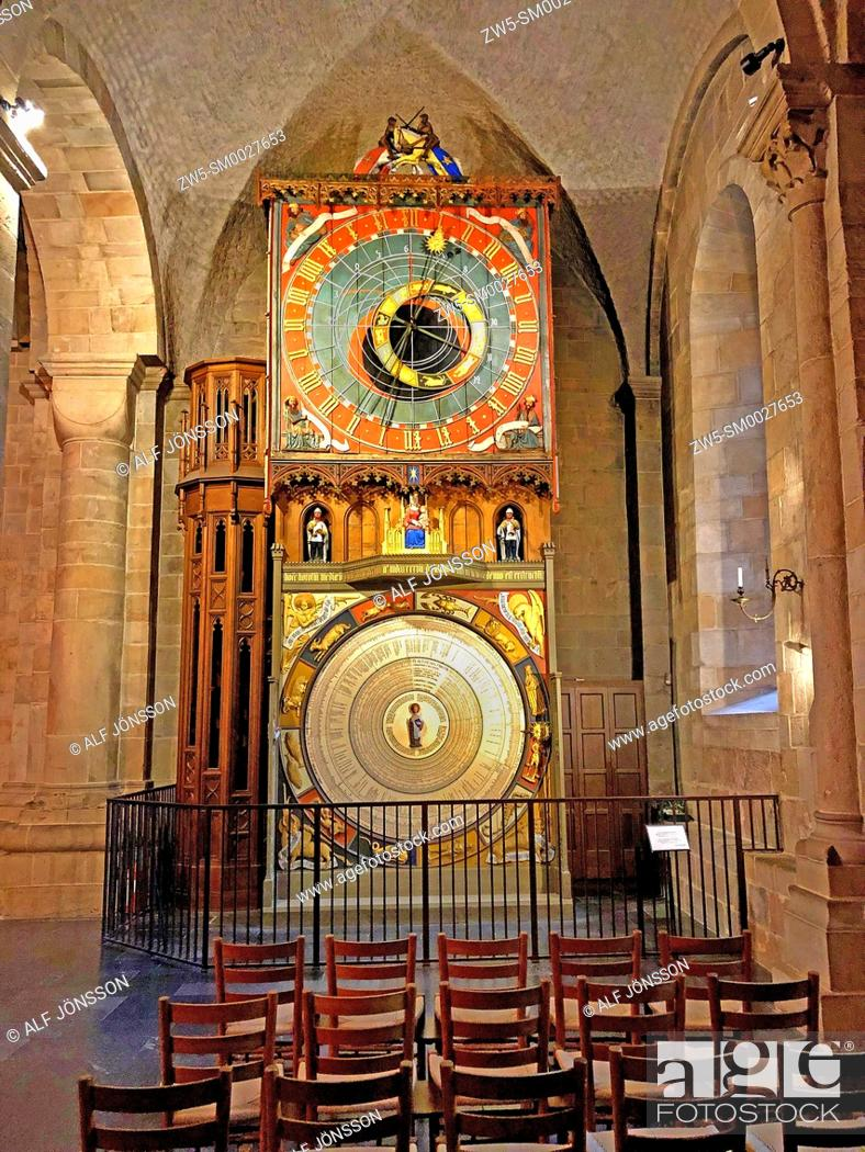 Stock Photo: The astronomical clock in Lund Cathedral, Scania, Sweden, late 14th century.