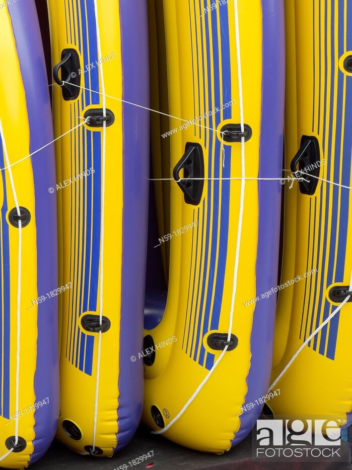Stock Photo: Inflatable dinghy boats on display in shop.