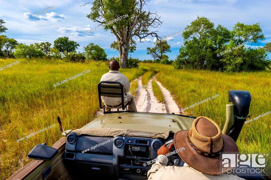 Stock Photo: Safari vehicle, Kwara Camp, Okavango Delta, Botswana.