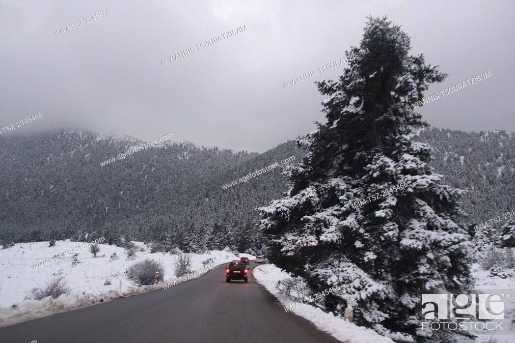 Stock Photo: The drive up to Arachova ski resort. Kellaria, Parnassos, Arachova, Viotia, Central Greece, Europe.