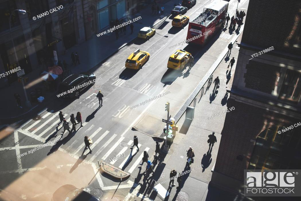 Stock Photo: View from above of SoHo street, Manhattan, New York.