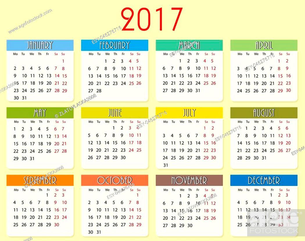 Stock Vector: Simple vector calendar of 2017 year in vector, eps10.