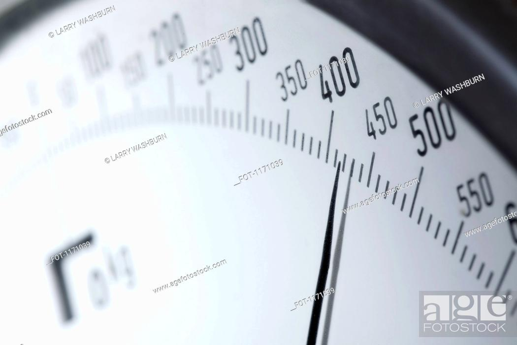 Stock Photo: Numbers on a kitchen scale, extreme close up.