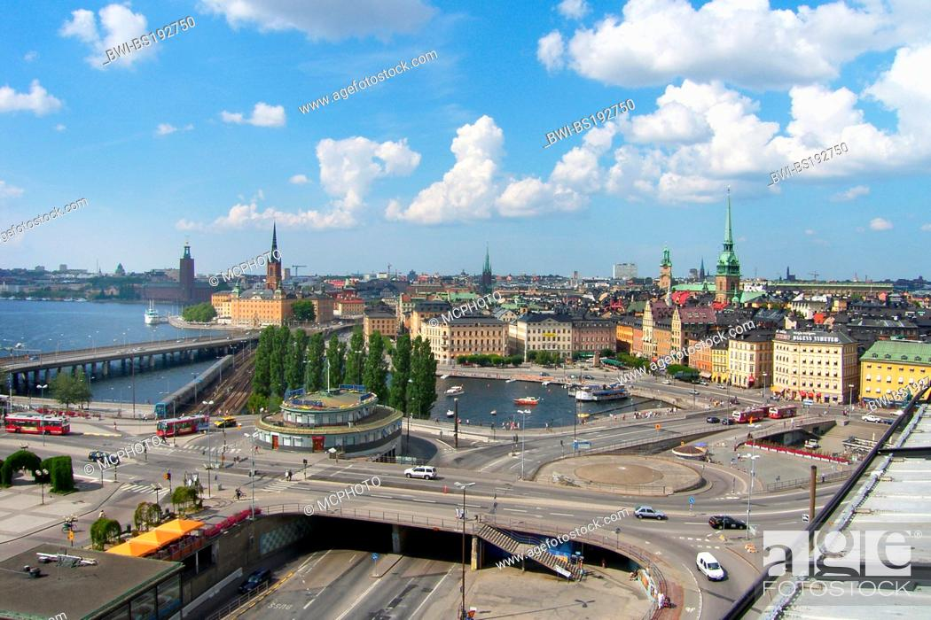 Stock Photo: Sweden, Stockholm, view to Gamla Stan from Katarinahissen, Sweden.