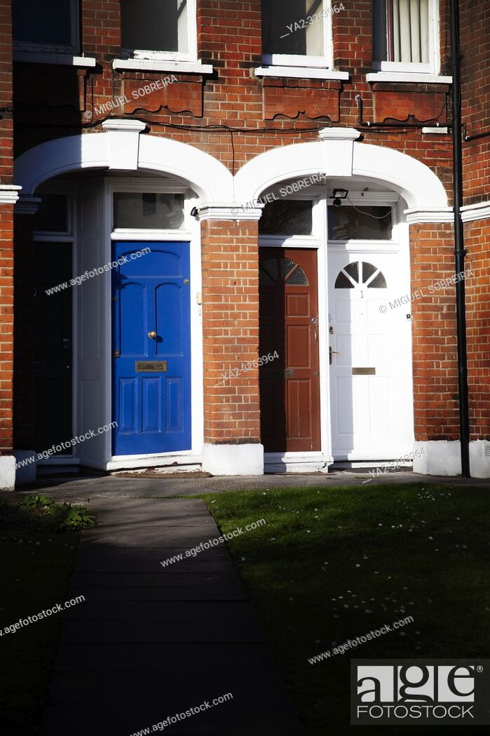 Stock Photo: Front Doors at End of Path - London UK.