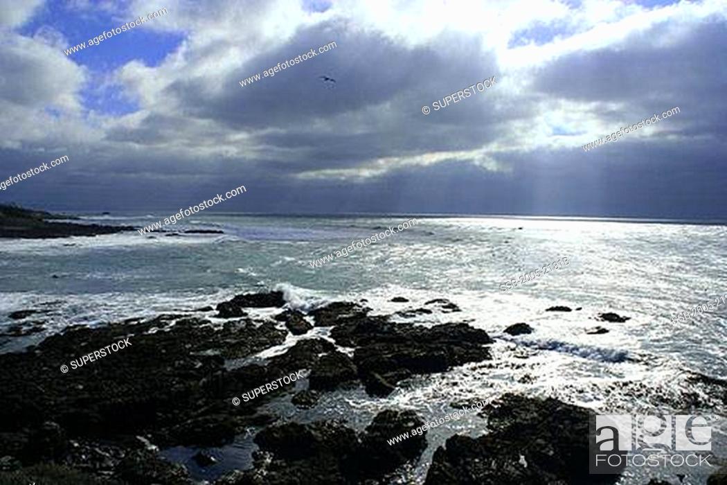 Stock Photo: Clouds over the ocean, Cambria, San Luis Obispo County, California, USA.