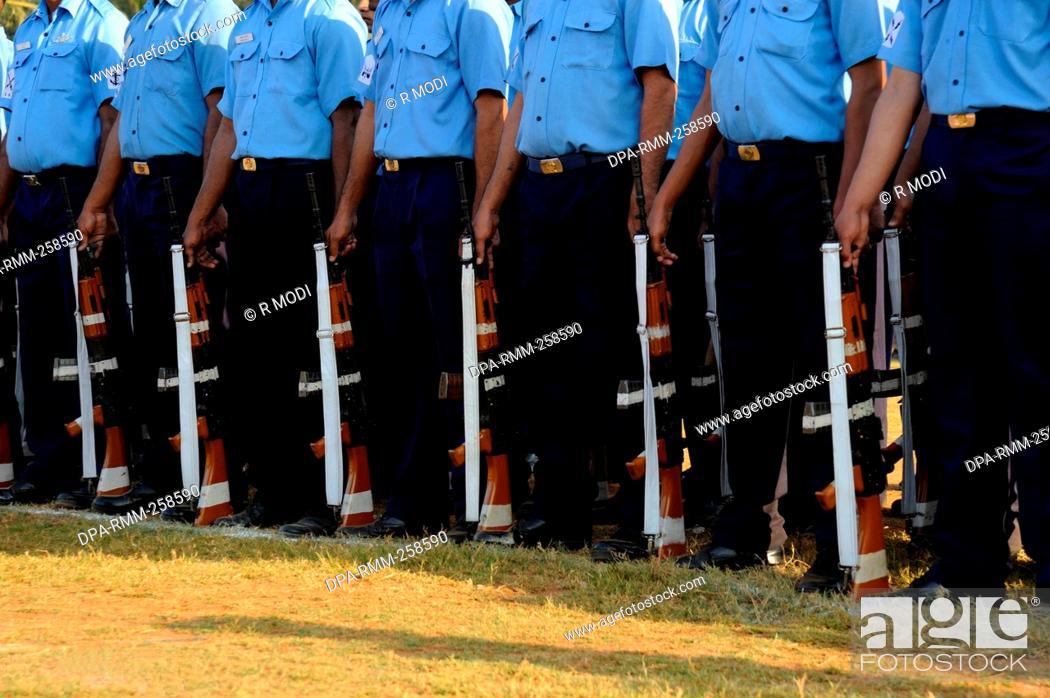 Stock Photo: police parade rehearsal for republic day, mumbai, maharashtra, India, Asia.