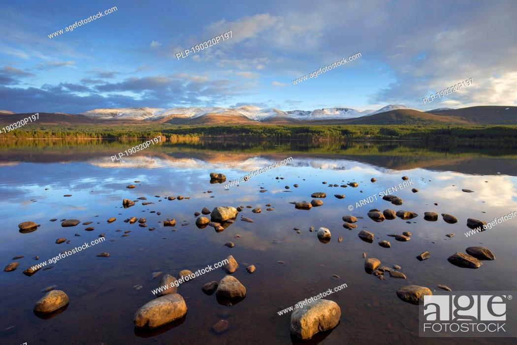 Stock Photo: Loch Morlich and Cairngorm Mountains, Cairngorms National Park near Aviemore, Badenoch and Strathspey, Scotland, UK.