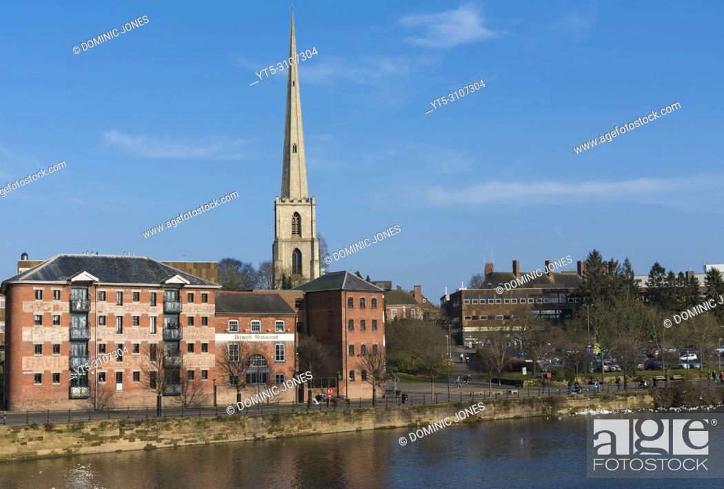 Stock Photo: St. Andrews Spire or 'Glover's Needle' on the River Severn, Worcester, England, Europe.