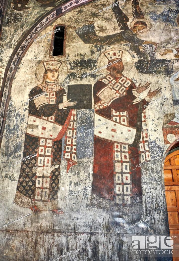 Stock Photo: Picture & image of Vardzia medieval cave Church of the Dormition interior secco paintings of Queen Tamar & Giorgi III, part of the cave city and monastery of.