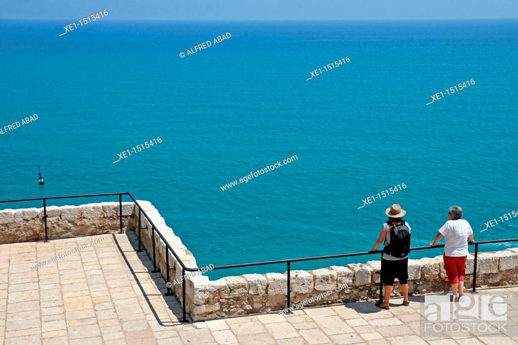 Stock Photo: Mediterranean Sea, Castle of Peñiscola, Castellon province, Comunidad Valenciana, Spain.