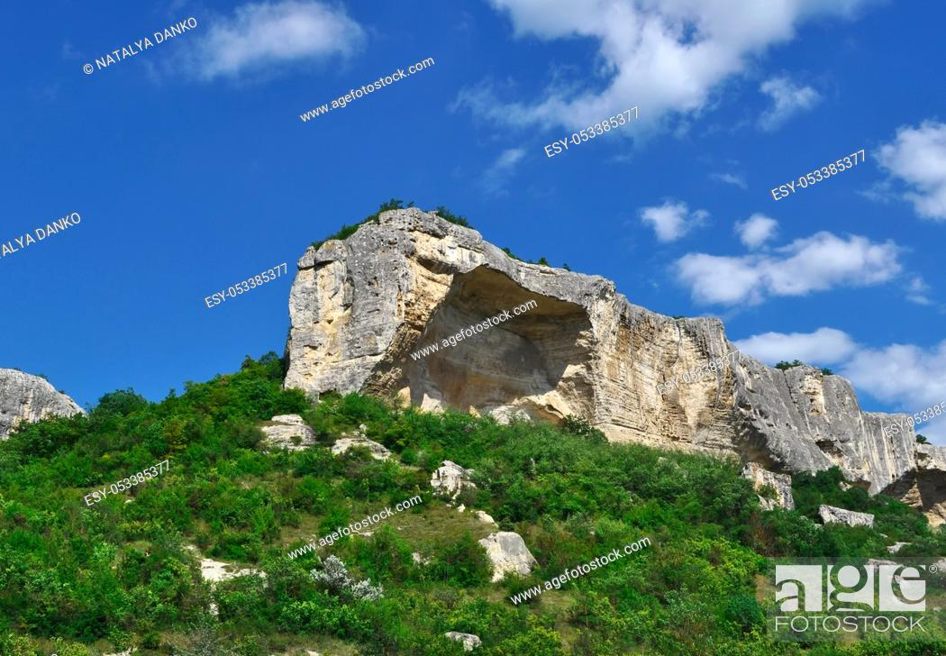 Stock Photo: grotto in the rock Kachi Kalyone Crimea, Ukraine, summer day.