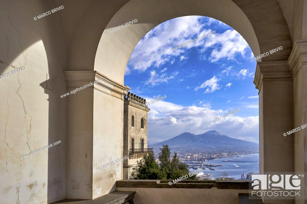 Stock Photo: Naples Campania Italy. View of the gulf of Naples and Mount Vesuvius from theCertosa di San Martino(Charterhouseof St.