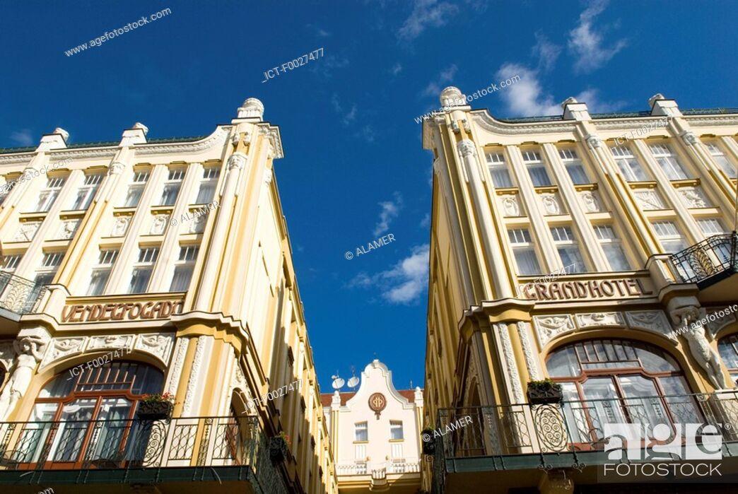 Stock Photo: Hungary, Pécs, hotel facade.
