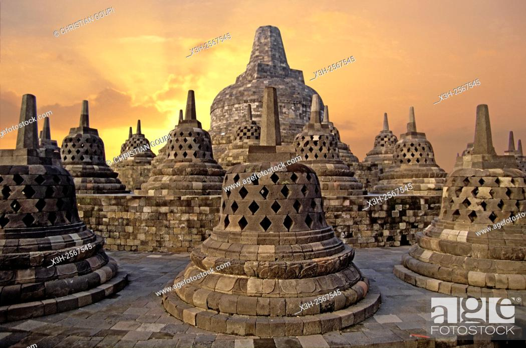 Stock Photo: stupas of Borobodur Temple, Java island, Greater Sunda Islands, Republic of Indonesia, Southeast Asia and Oceania.
