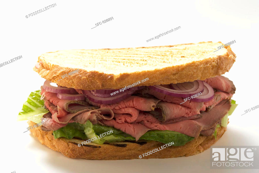 Stock Photo: Roast beef and onion sandwich.