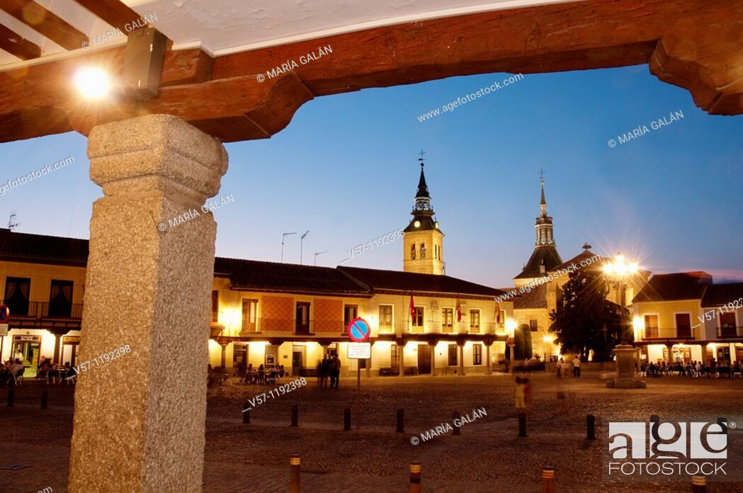 Stock Photo: Plaza de Segovia, night view. Navalcarnero, Madrid province, Spain.