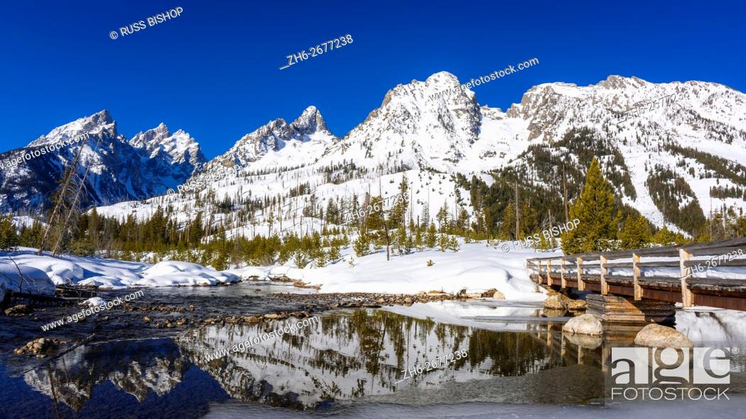 Stock Photo: The Tetons in winter above Cottonwood Creek, Grand Teton National Park, Wyoming USA.