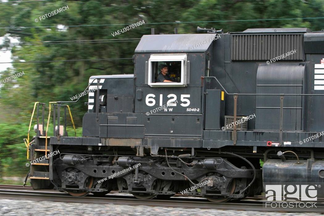 Stock Photo: train, engine, locomotive, rail, railroad, railway.