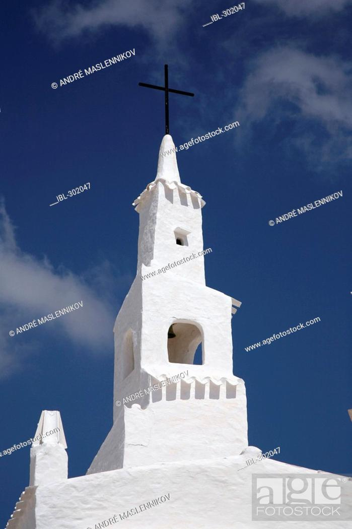 Stock Photo: The church in the white quarter in Binibeca, Menorca.