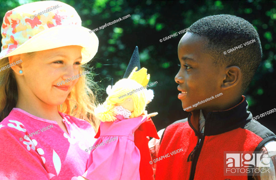 Stock Photo: Two young children smiling.