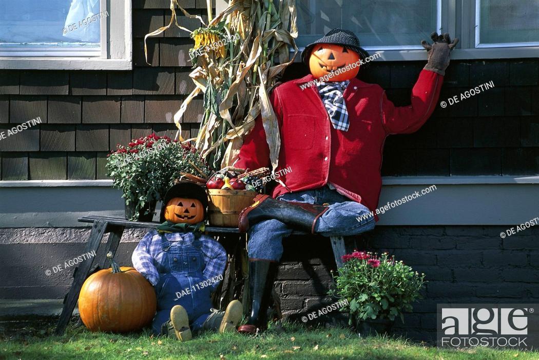 Stock Photo: Pumpkins decorated for Halloween celebration, Peacham, Vermont, United States of America.