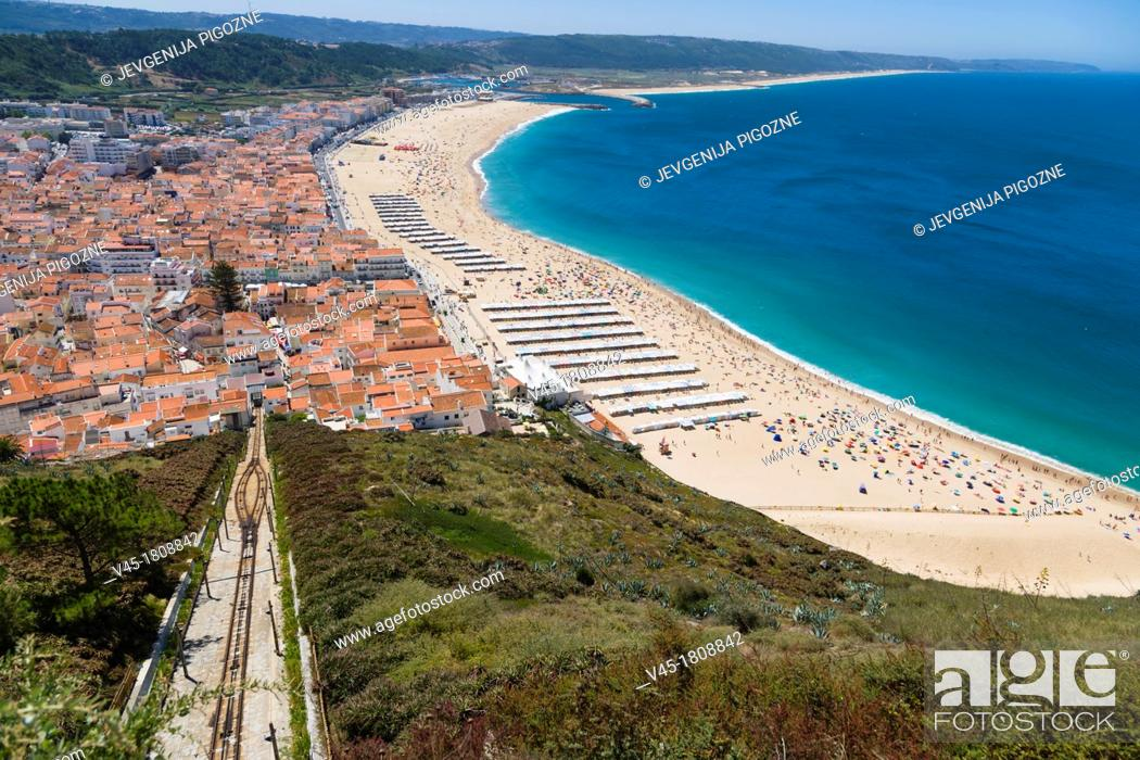 Stock Photo: Elevador, Ascensor da Nazare, Funicular railway and Beach, Praia, seen from Sitio, old village, Nazare, Oeste, Leiria District, Portugal.