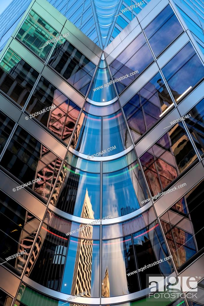 Stock Photo: New York City - USA - DEC 26 2018: Perspective view to facade fragment of 7 Bryant Park in midtown Manhattan.