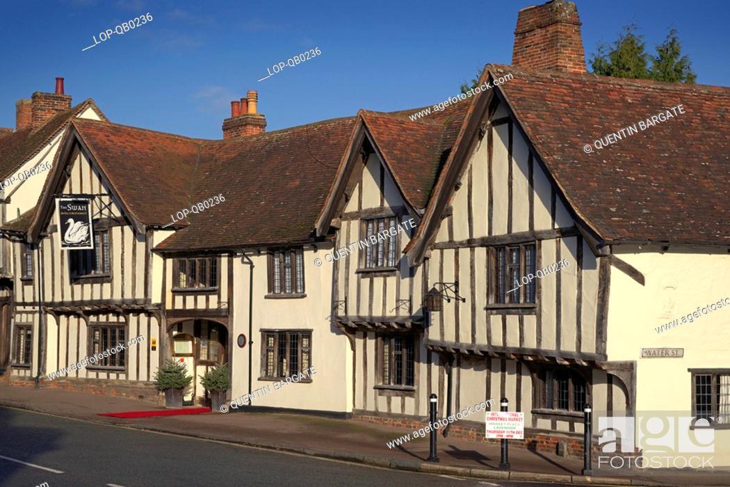 Stock Photo: England, Suffolk, Lavenham, Exterior of the Swan Hotel and Restaurant in Lavenham.