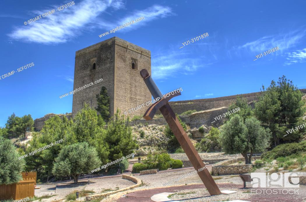 Stock Photo: HDR image of the Large Sword and Alfonsina Tower at Lorca Castle in Murcia Spain.